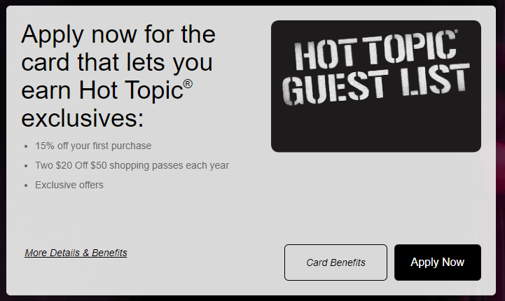 comenity hot topic guest list credit card, hot topic comenity bank card, comenity bank hot topic card