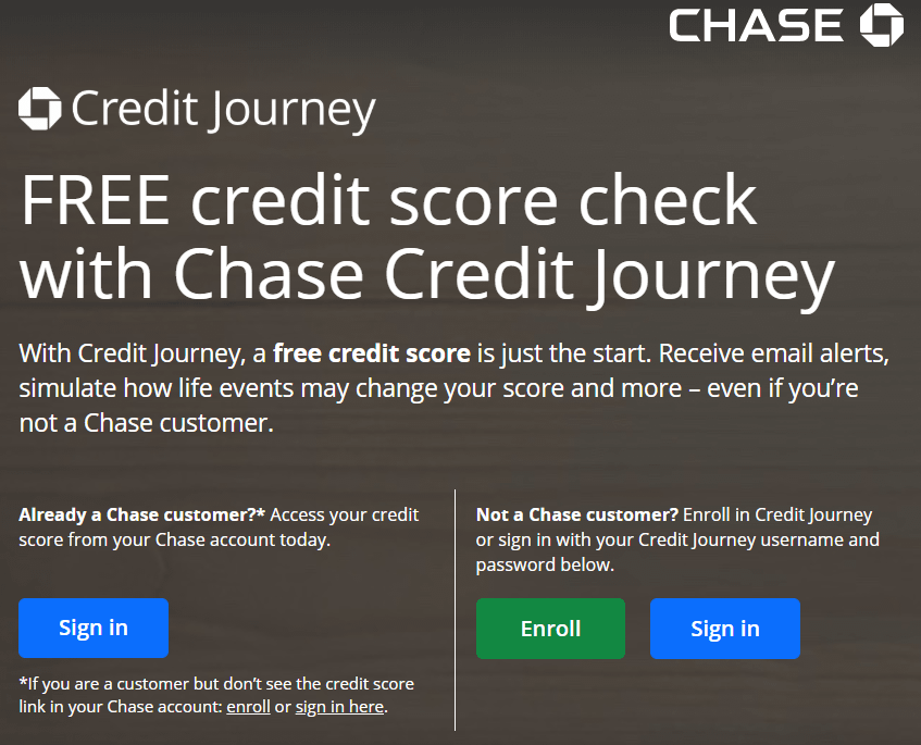 Chase Credit Journey Home Page