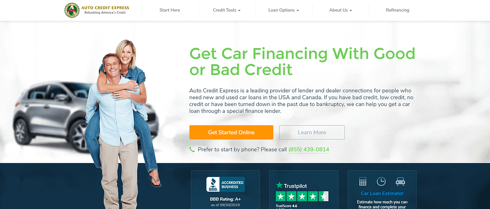 auto credit express homepage