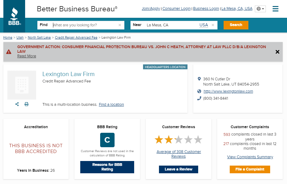 Lexington Law Credit Repair Better Business Bureau C
