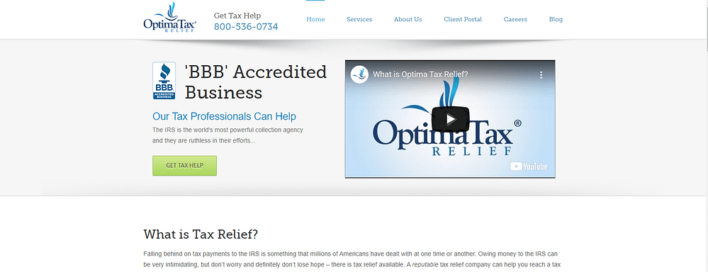 optima tax home page