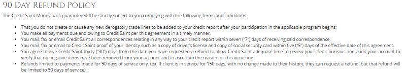 credit_saint_90_day_money back guarantee refund policy