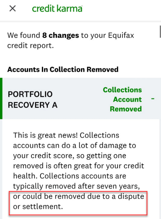 Porfolio Recovery Removed Due to Dispute