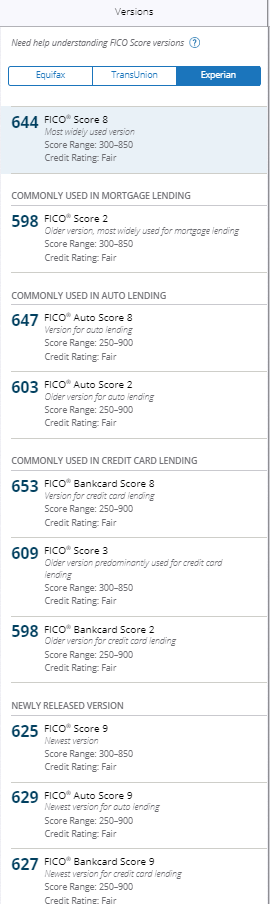FICO_Experian_Score_Versions_-_FICO_2,_FICO_Auto_Score_2,_8_and_9,_FICO_Bankcard_Score_2,_8,_and_9,_FICO_3,_FICO_9