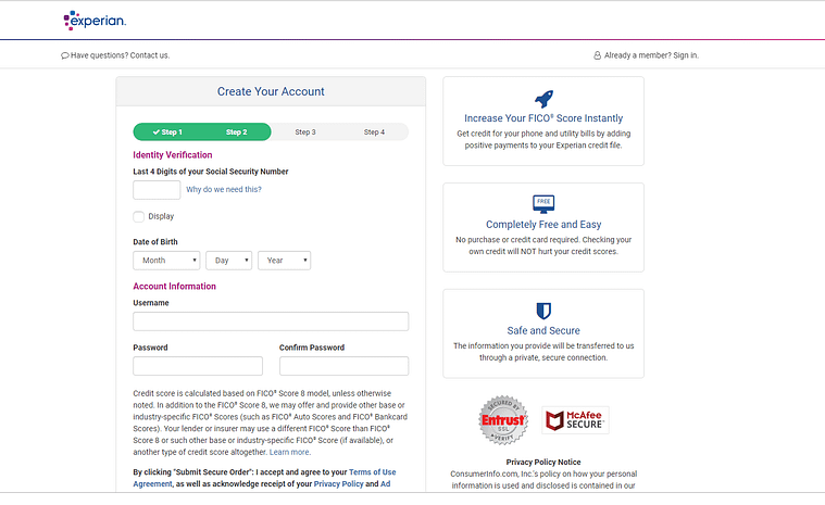 Sign up for Experian Boost