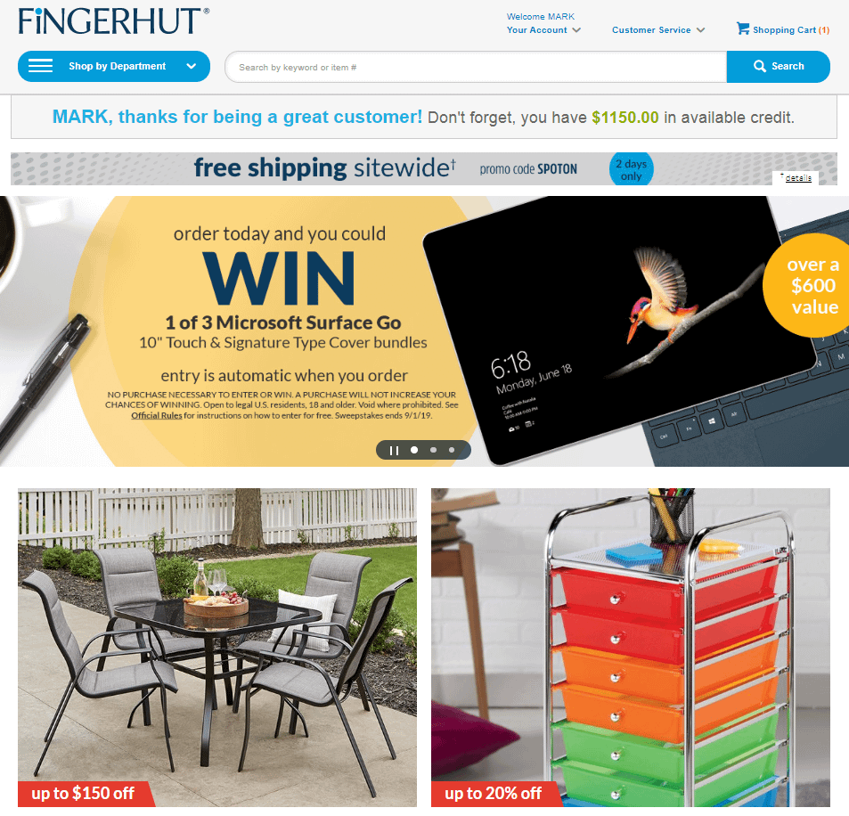 Fingerhut store catalog credit