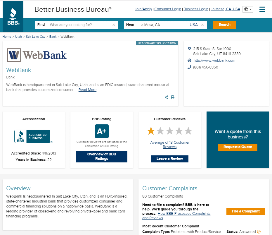 WebBank BBB better business bureau WebBank Review FDIC dfs/webbank fingerhut loans credit cards
